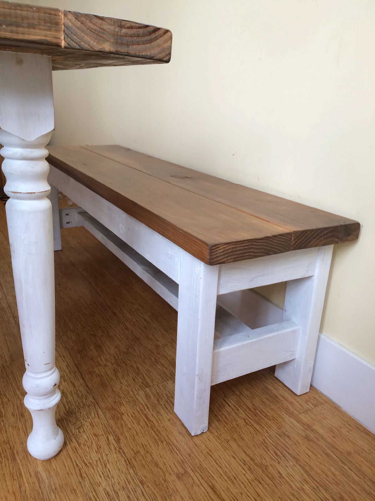 Diy dining room table bench dining room table bench on for Building a farmhouse